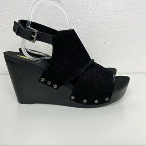 Volatile Wedge Platform Sandals Womens Size 8 Black Leather Shoes